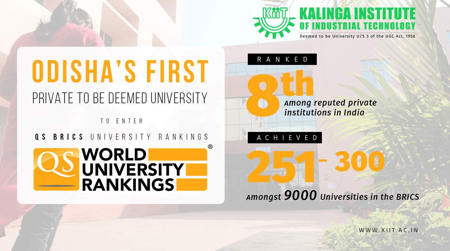 KIIT Odisha First Deemed University in QS Rank