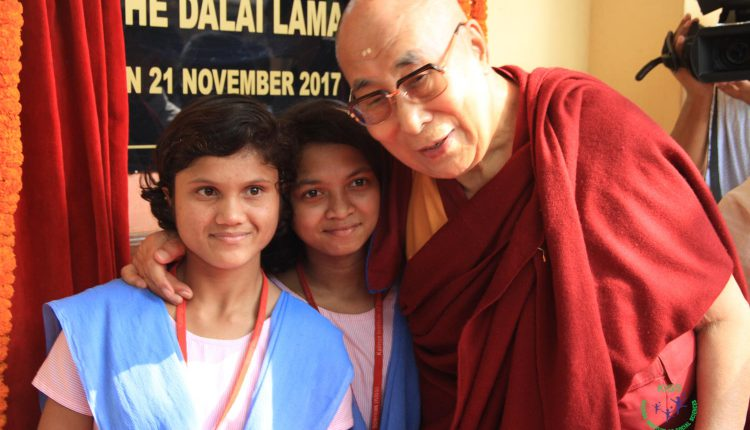 His Holiness The Dalai Lama with KISS students